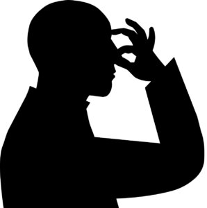 Silhouette of person holding nose closed