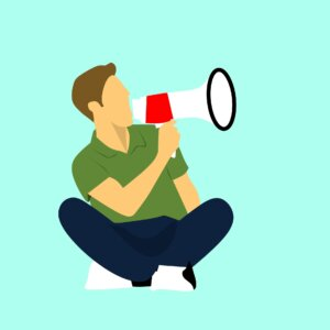 Graphic of man yelling into megaphone