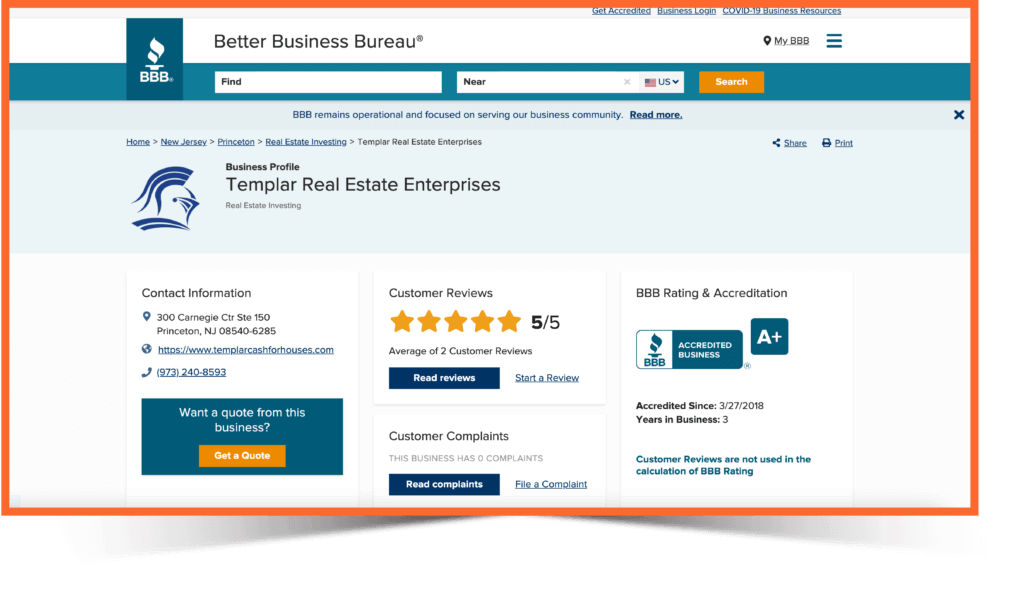 Templar Real Estate Enterprises BBB page