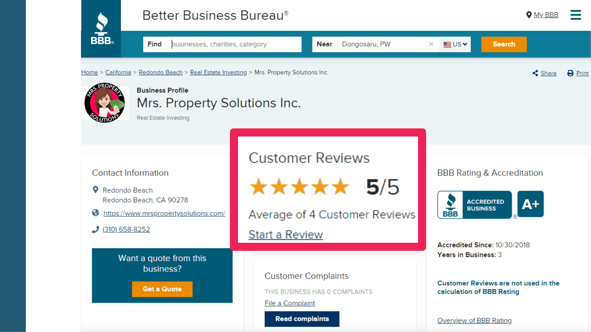 our bbb reviews