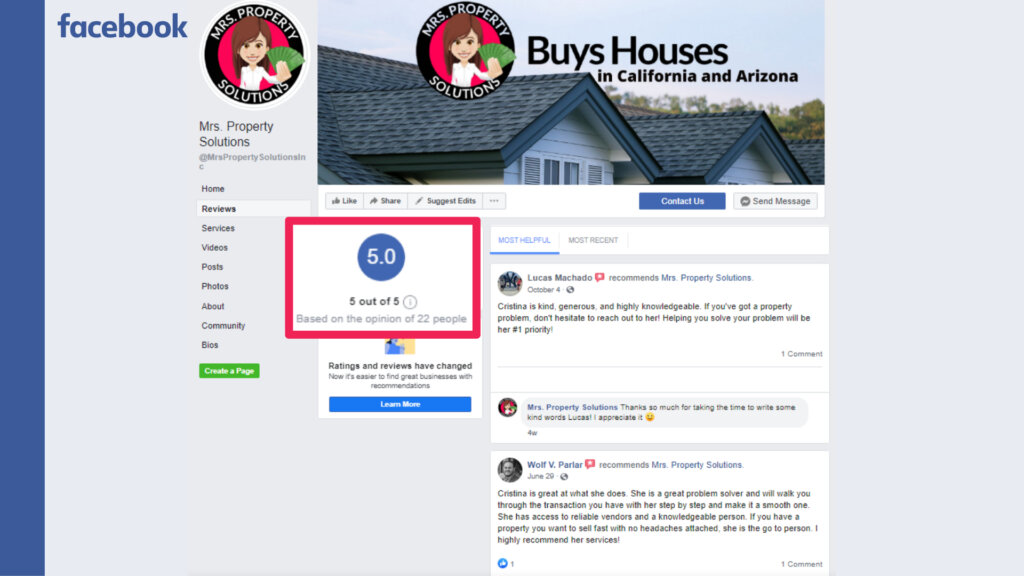 sell my house fast in Los Angeles facebook reviews