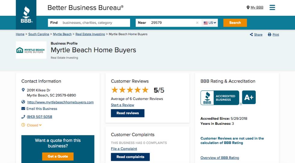 Legitimate House Buyers In Myrtle Beach