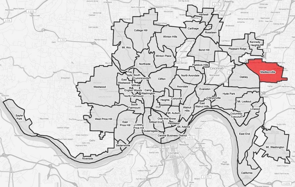 we buy houses in Madisonville -Cincinnati-map