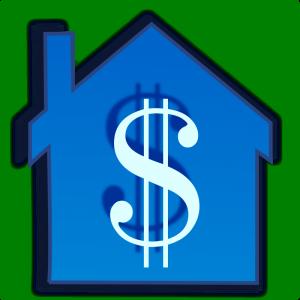 dollar sign on blue house