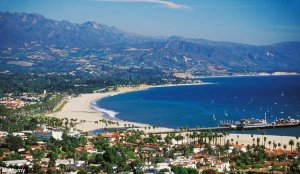 aerial view of the santa barbara beach and santa barbara real estate