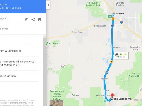 Google maps driving directions from Tucson, AZ