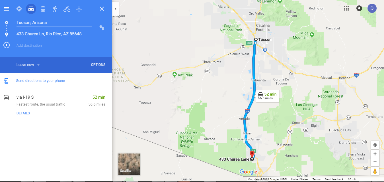 Directions from Tucson