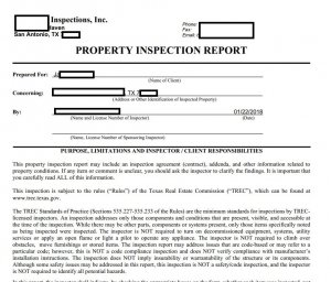 Property Inspection Report Faye Y Taylor