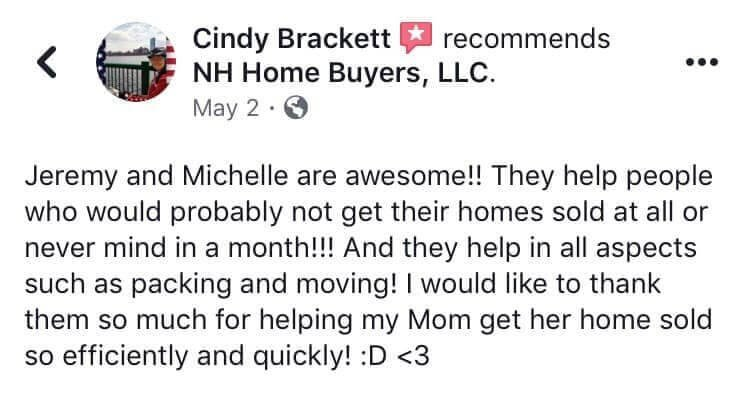 NH Home Buyers LLC Reviews Cindy Brackett