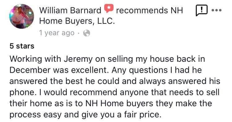 NH Home Buyers LLC Reviews William Barnard