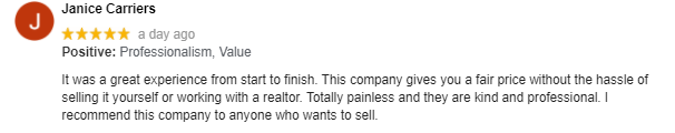 NH Home Buyers Google Review: Janice Carriers