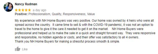 NH Home Buyers Google Review: Nancy Rudman