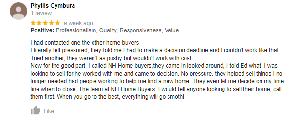 NH Home Buyers Google Review: Phyllis Cymbura