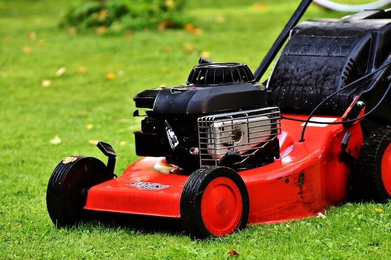 Mowing the lawn with red lawn mower