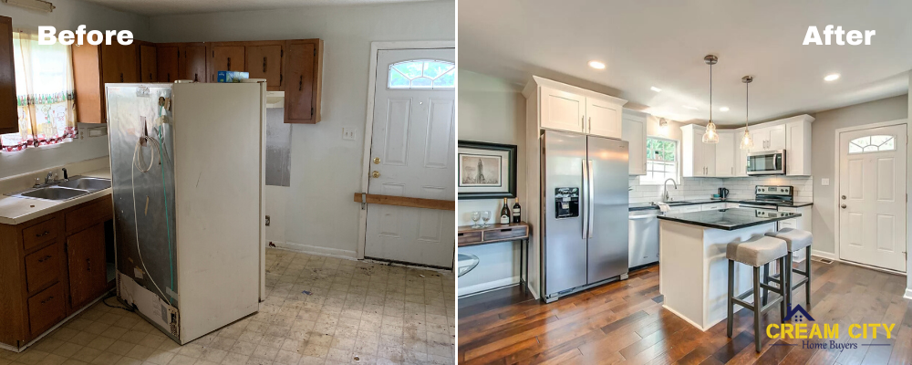 Before and after of a house bought for cash in Milwaukee