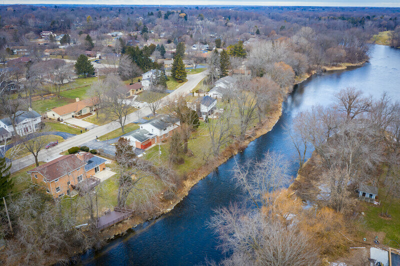 Aerial view of Glendale WI featuring the Milwaukee River. Taken in early winter