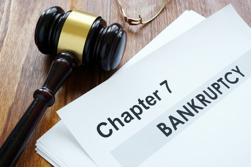 Chapter 7 Bankruptcy documents and gavel