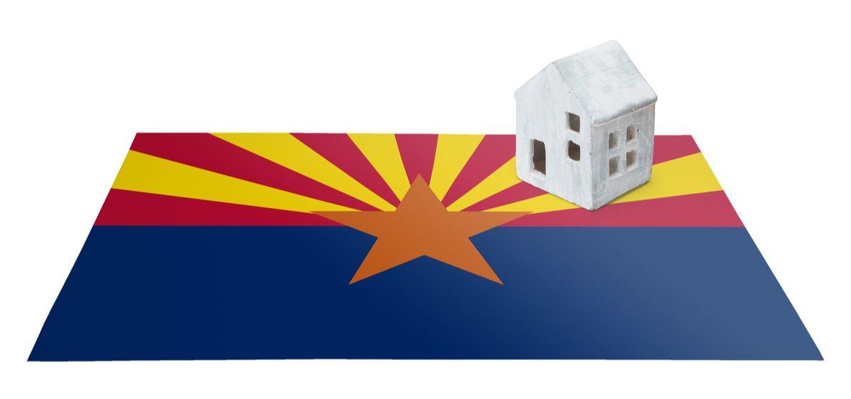 arizona flag with tucson home