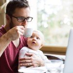 Find a Private Money Lender | man with baby sipping tea