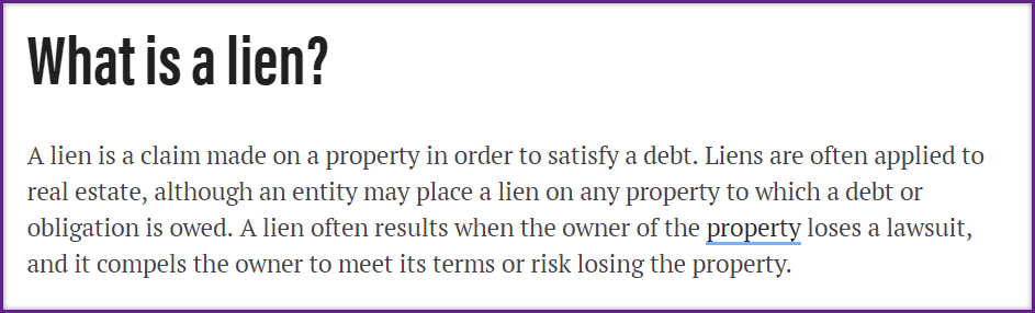 What is a Lien For Property Taxes