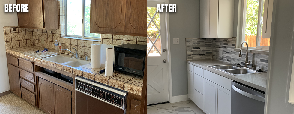 Before and After photo of a kitchen that was updated
