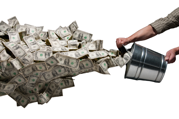 throwing money out of a bucket