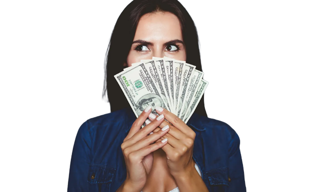 woman holding money infront of her face