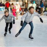 kids ice skating at an ice rink