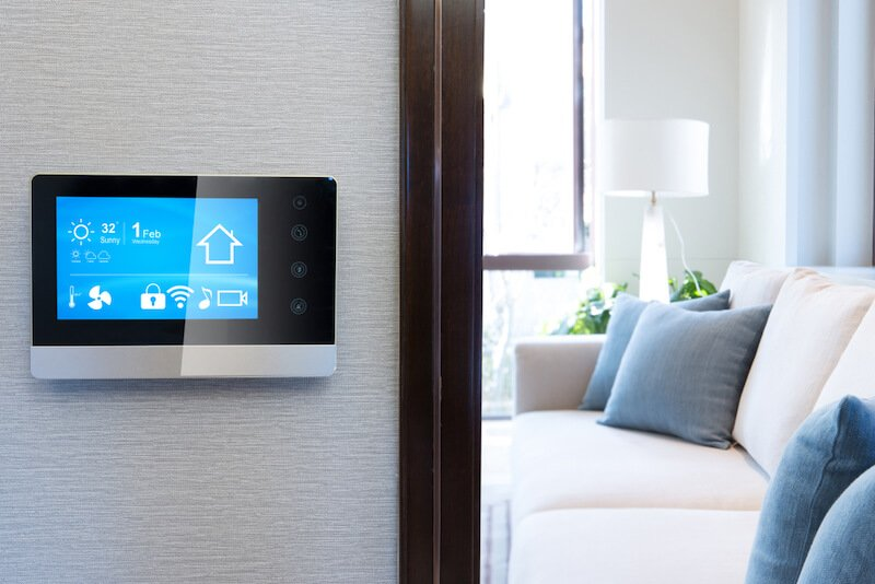 Smart home panel on wall of house
