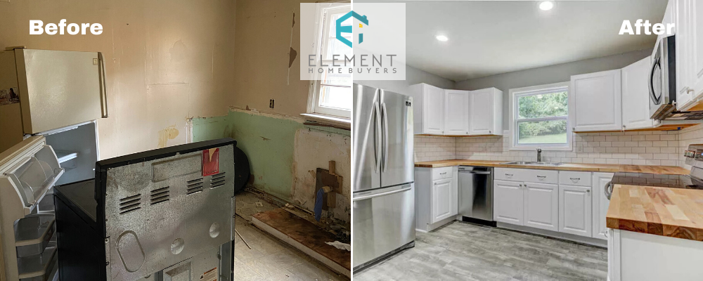 a before and after picture of a house bought for cash by Element Homebuyers