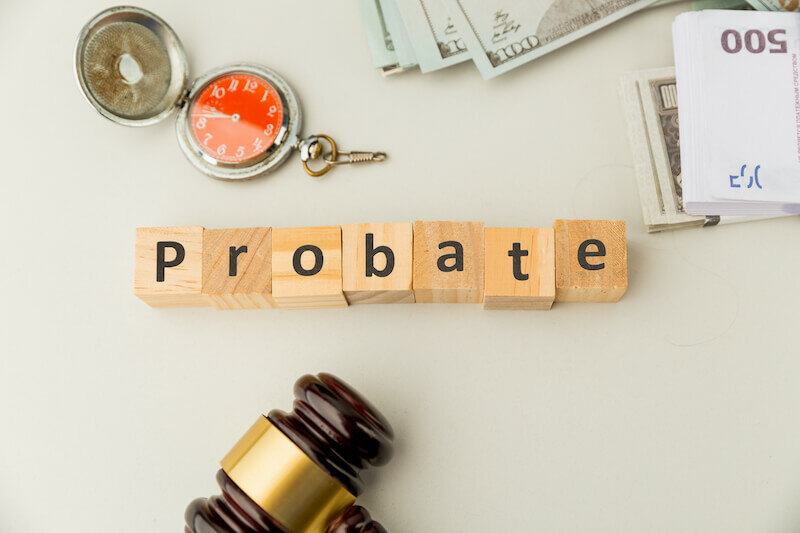 Probate sign, stack of papers and gavel -  probate process