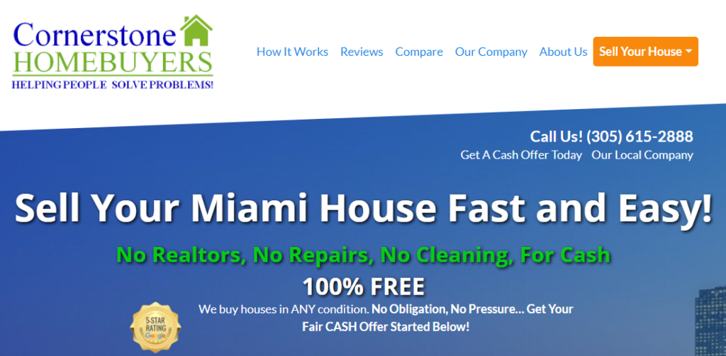 Cornerstone Homebuyers | Sell Your Florida House - Main Page Hero SS