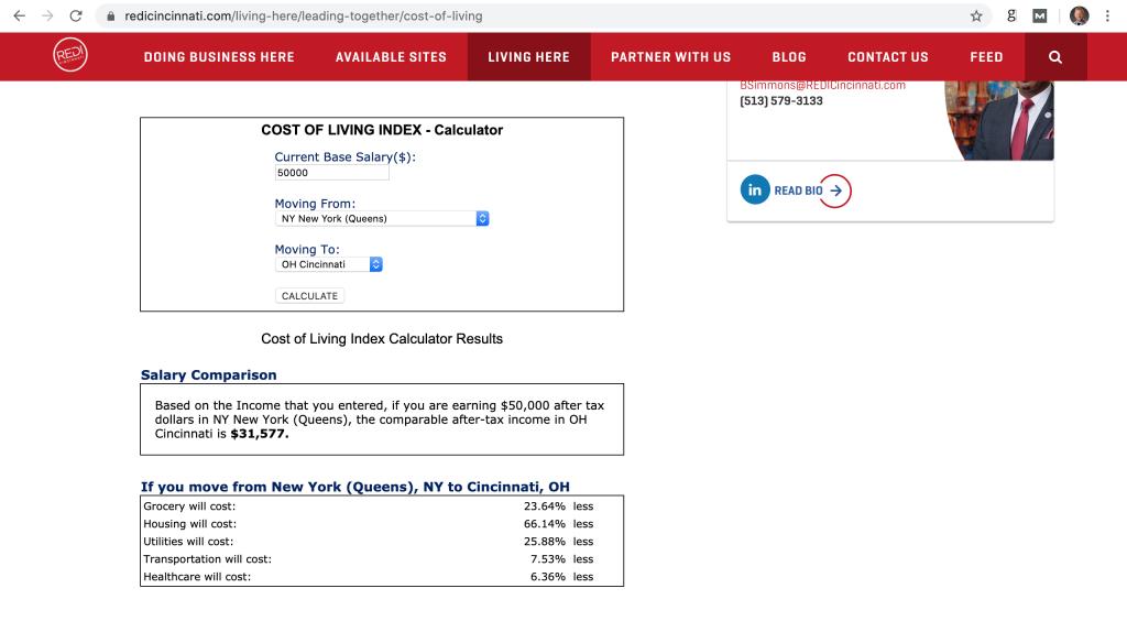 cost of living - cincinnati VS new york