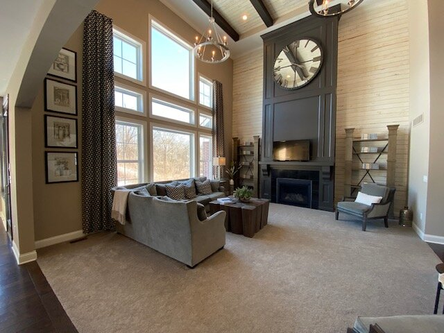 two story ceilings in dining room in new home in fischer homes crestview - mason, oh - team sztanyo