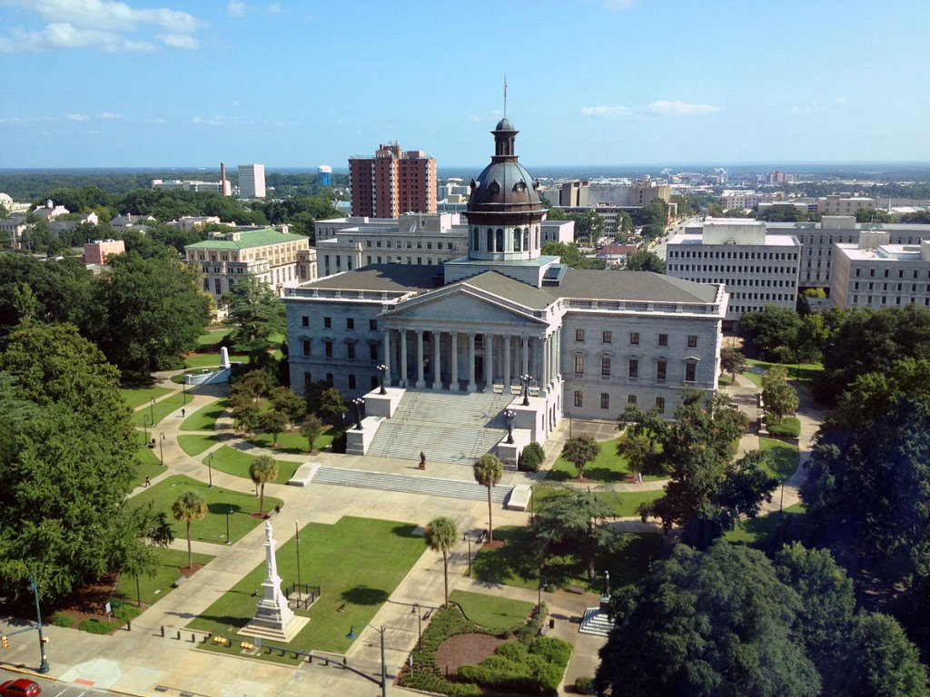 a sky view of a historical building in Columbia South Carolina