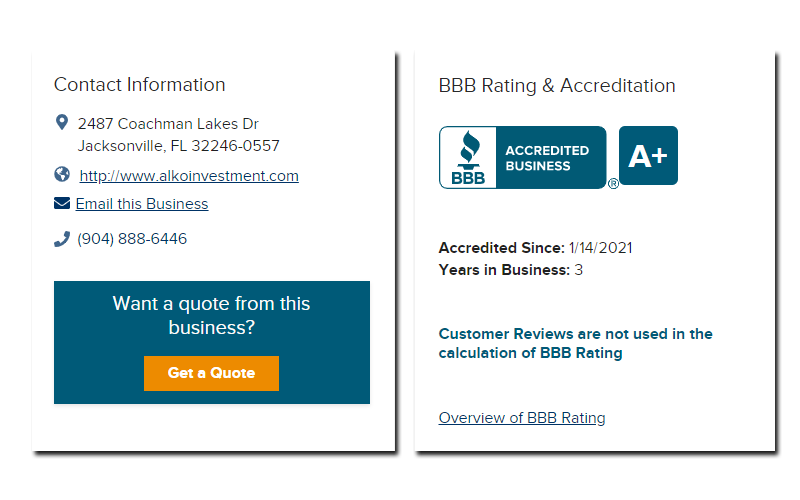 alko investment bbb rating and accreditation and contact information