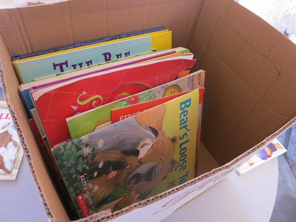 A box packed with children's books