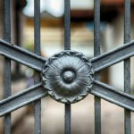 A foreclosed house with the gate closed