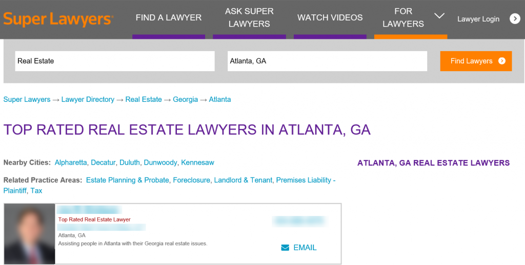 Super Lawyers Top Real Estate Lawyers Atlanta Georgia