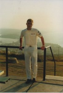 Mark wearing Summer Whites in US Navy