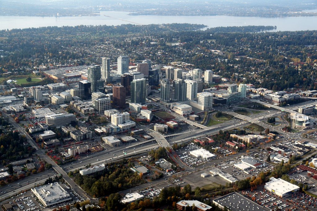 sky view of Bellevue WA on the sell your house fast for cash in Bellevue page