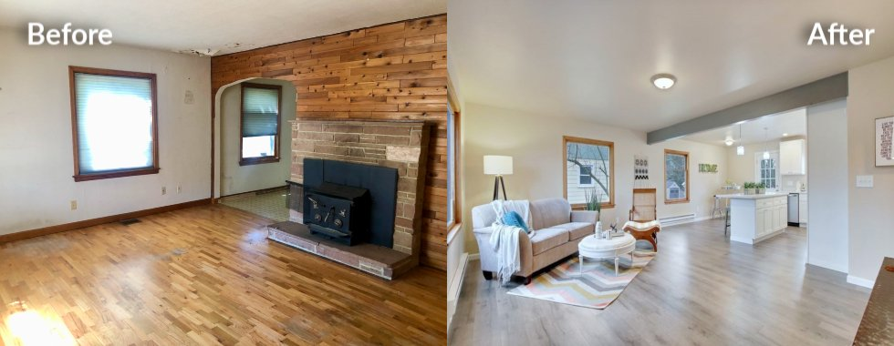 Before and after of living room remodel by Kind House Buyers