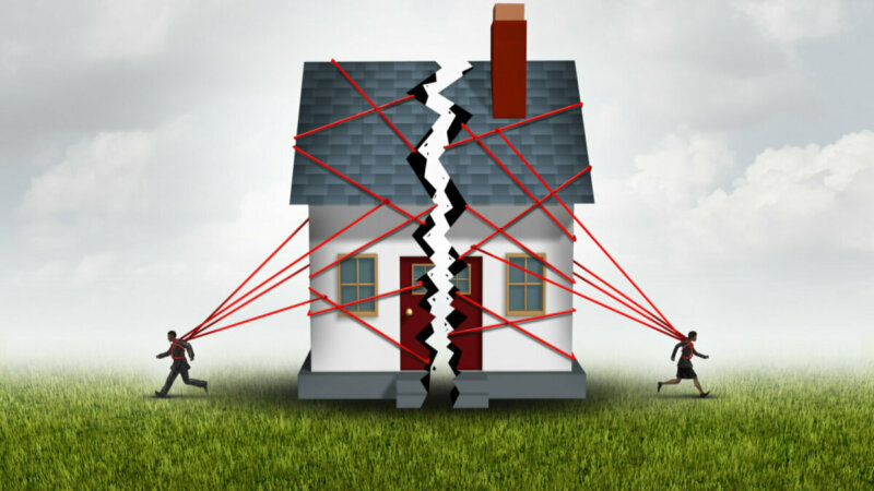 graphic of a divorcing couple splitting their property