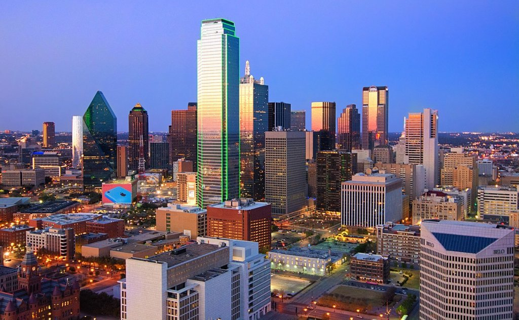 skyline view of uptown Dallas Texas