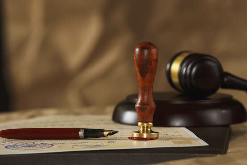 stamped last will document and gavel - probate process