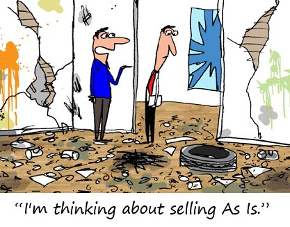 "beat up house cartoon ""I'm thinking about selling as is"""