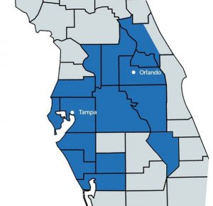 a map of central florida showing the locations of properties listed by list now realty with flat fee mls listings