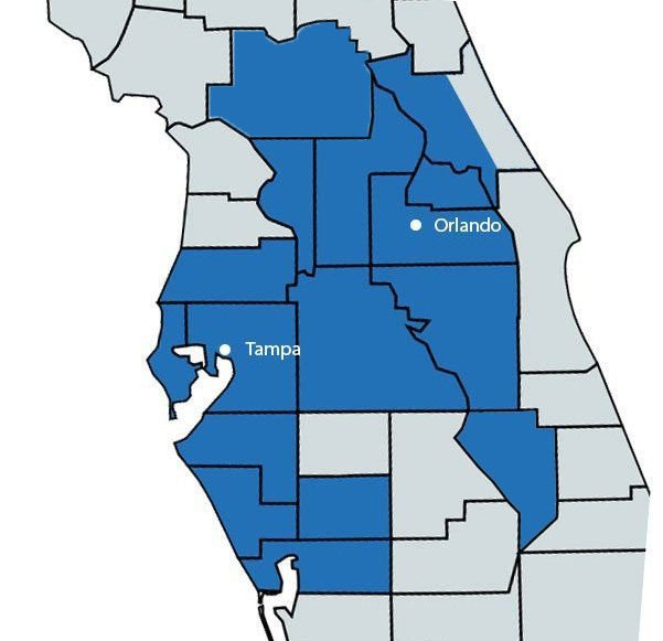 a map of florida showing the mls coverage area of list now realty