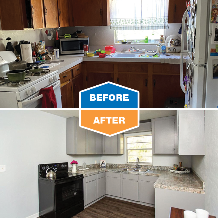 before and after renovation - kitchen