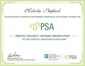 Pricing Strategy Advisor Certification Malcolm Shepherd PSA Reno Nevada